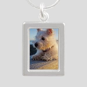 West Highland Terrier pu Silver Portrait Necklace