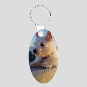 West Highland Terrier puppy Aluminum Oval Keychain