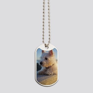 West Highland Terrier puppy on wood Dog Tags