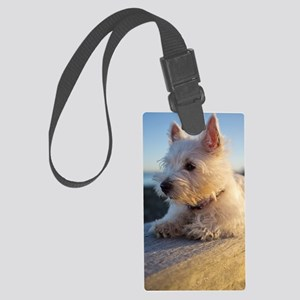 West Highland Terrier puppy on w Large Luggage Tag