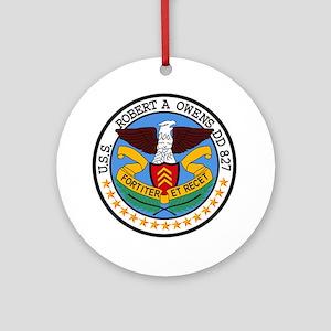 DD-827 USS ROBERT A OWENS Destroyer Round Ornament