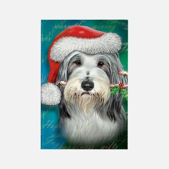 Bearded Collie-santa -journal Rectangle Magnet