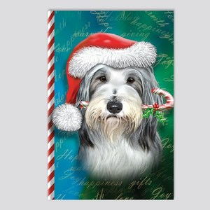 Bearded Collie-santa -jou Postcards (Package of 8)