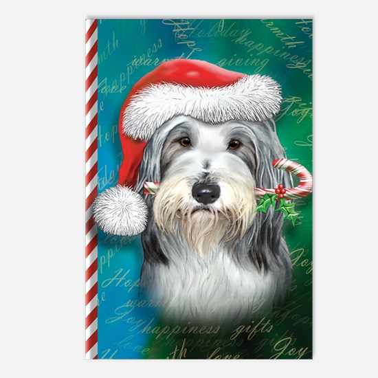 Bearded Collie-santa -jou Postcards (Package of 8)