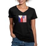 Philippine Flag & US Flag Women's V-Neck Dark Tee