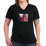 Philippine Flag & US Flag Women's V-Neck Dark Tee