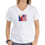 Philippine Flag & US Flag Women's V-Neck T-Shirt