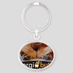 corgibuttscover Oval Keychain