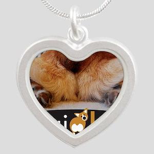 corgibuttscover Silver Heart Necklace
