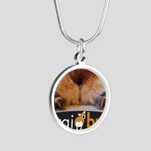 corgibuttscover Silver Round Necklace