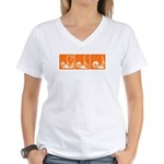 Orange Fencer's Thrust Women's V-Neck T-Shirt