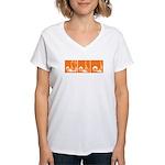 Orange Fencer's Thrust Women's V-Neck T-Shirt