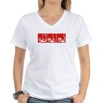 Red Fencing Thrust Women's V-Neck T-Shirt