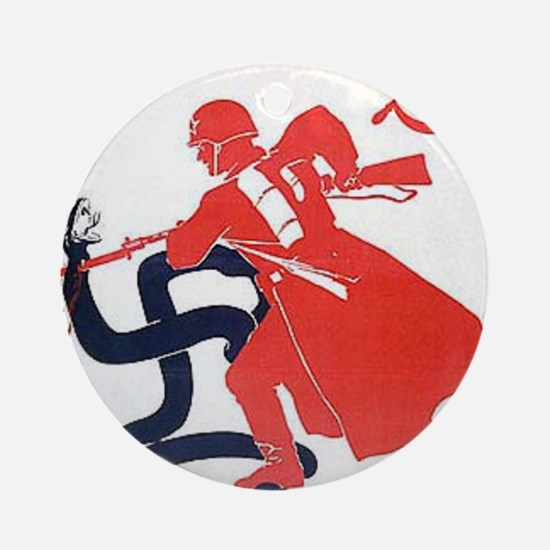 Death To Fascism WW2 Red Army Round Ornament