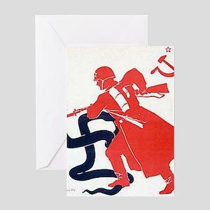 Death To Fascism WW2 Red Army Greeting Card