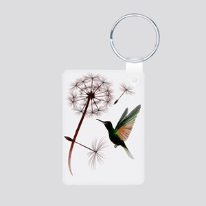 Dandelion and Hummingbird  Aluminum Photo Keychain