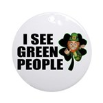 I See Green People Leprechaun Ornament (Round)