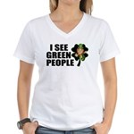 I See Green People Leprechaun Women's V-Neck T-Shi