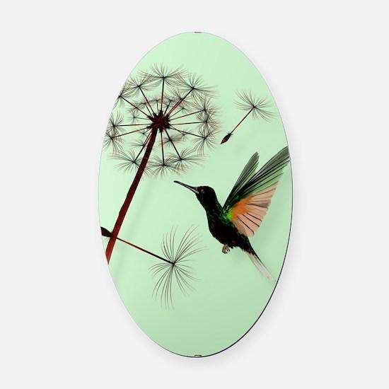KEY CHAIN-Dandelion and Hummingbir Oval Car Magnet