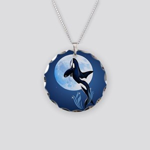Leaping Orca and Moon-circle Necklace Circle Charm