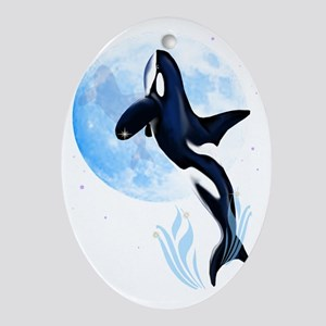 Leaping Orca and Moon Trans Oval Ornament