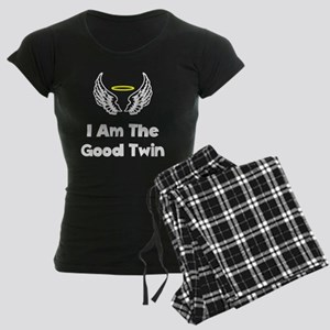 I Am The Good Twin White FBC Women's Dark Pajamas
