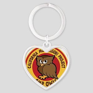 OWLS, on black color Heart Keychain