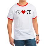 Peace, Love, and Pi Ringer T, choose trim color