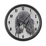Standard Poodle (Parti) Large Wall Clock