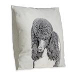Standard Poodle (Parti) Burlap Throw Pillow