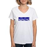Blue Fencing Thrust Women's V-Neck T-Shirt