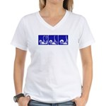 Blue Fencing Thrust Women's V-Neck T-Shirt