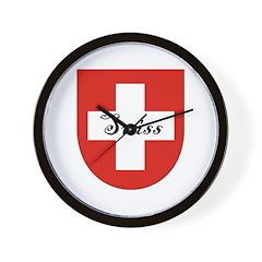 Swiss Flag Crest Shield Wall Clock
