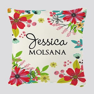 Painted Floral Personalized Mo Woven Throw Pillow