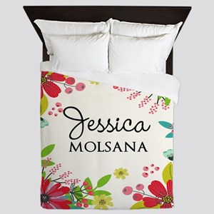 Painted Floral Personalized Monogram Queen Duvet