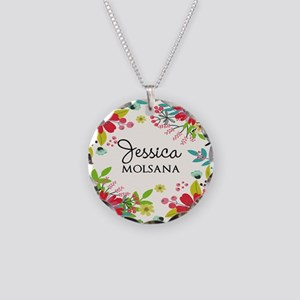 Painted Floral Personalized Necklace Circle Charm