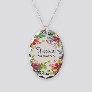 Painted Floral Personalized Mo Necklace Oval Charm