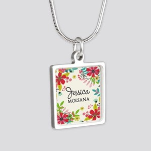 Painted Floral Personalize Silver Square Necklace