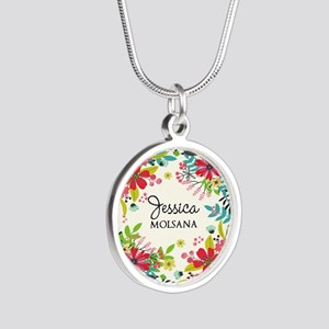 Painted Floral Personalized Silver Round Necklace
