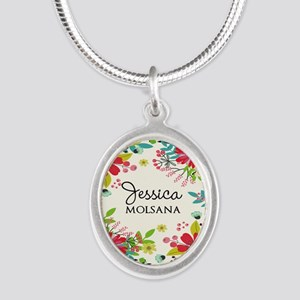 Painted Floral Personalized M Silver Oval Necklace