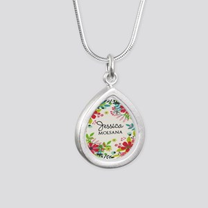 Painted Floral Personali Silver Teardrop Necklace