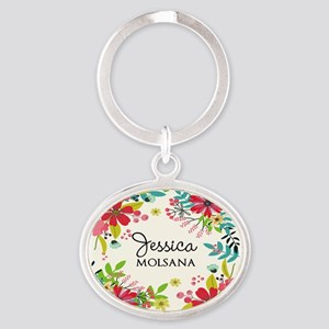 Painted Floral Personalized Monogram Oval Keychain