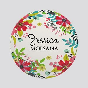 Painted Floral Personalized Monogra Round Ornament