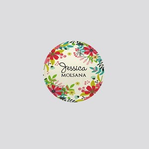 Painted Floral Personalized Monogram Mini Button