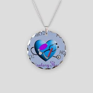 rt print 2 blue Necklace Circle Charm