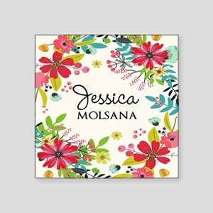 "Painted Floral Personalized Square Sticker 3"" x 3"""
