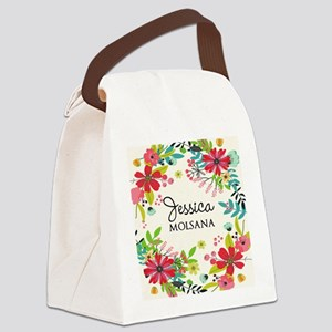Painted Floral Personalized Monog Canvas Lunch Bag