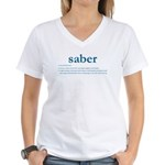 Saber Fencing Definition Women's V-Neck T-Shirt