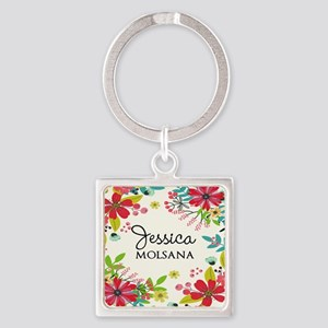 Painted Floral Personalized Monogr Square Keychain