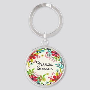 Painted Floral Personalized Monogra Round Keychain
